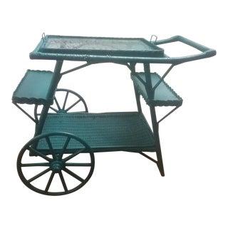 Antique Wicker Tea/ Bar Cart For Sale