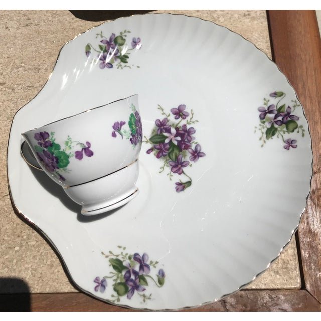 Beautiful vintage purple floral print snack ceramic tea time snack plates. Perfect for an afternoon brunch, china display,...