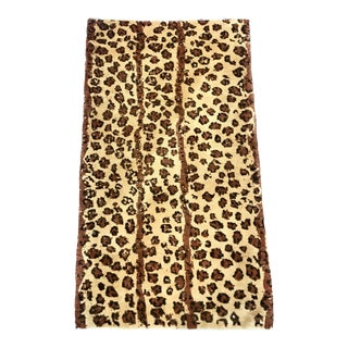 1990s Contemporary Hand-Knotted Leopard Style Turkish Rug