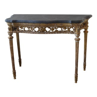 Mid 18th Century Italian Neoclassical Gilt Carved Wood Console With Marble Top For Sale