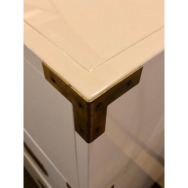 Gold Baker Campaign Chest Having Bronze Pull Spectacular White Lacquer Finish For Sale - Image 8 of 13