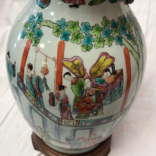 Antique Japanese Porcelain & Wood Lamp - Image 9 of 11