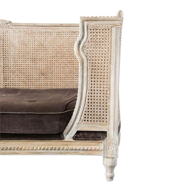 French French Style Caned Day Bed With Velvet Cushion For Sale - Image 3 of 5