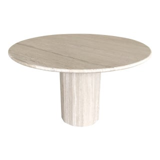 1970's Italian Stone International Round Travertine Dining Table For Sale