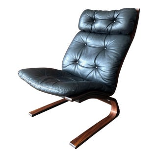 Mid Century Rosewood & Leather Bentwood Lounge Chair by Rykken-Norway 1960s For Sale