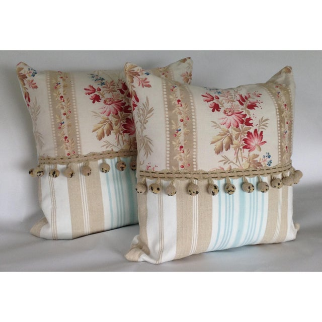 Textile 19th Century French Floral & Linen Ticking Stripe Pillows With Pom-Poms - a Pair For Sale - Image 7 of 7