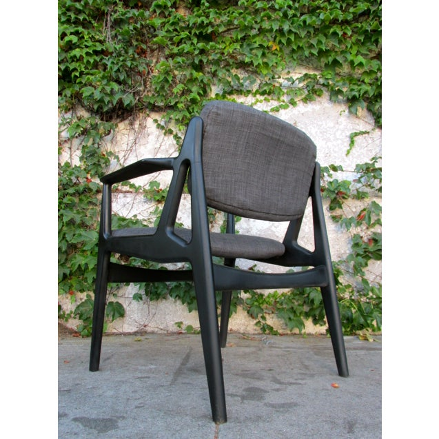 Mid-Century Black Lacquered Arm Chairs - A Pair - Image 4 of 4