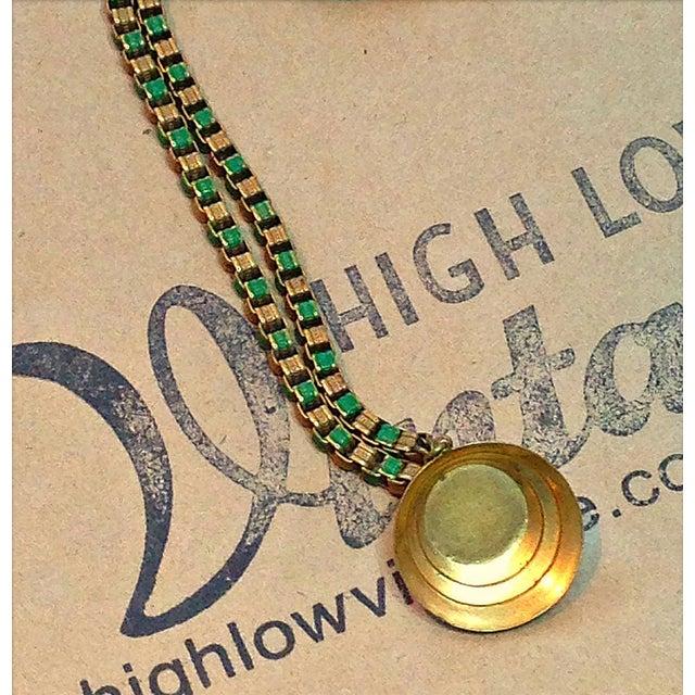 1920s 1920s Vintage Art Deco Green & Gold Enamel Necklace Pendant For Sale - Image 5 of 6