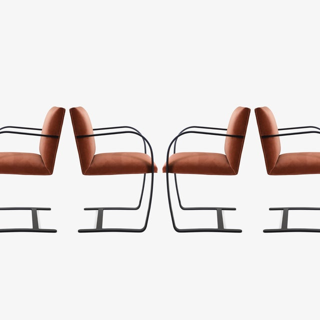 Knoll Brno Flat-Bar Chairs in Rust Velvet, Obsidian Matte Frame - Set of 6 For Sale - Image 4 of 11