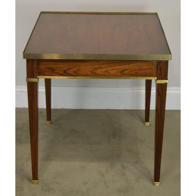 1970s Baker Vintage Regency Directoire Style Rosewood One Drawer Side Table For Sale - Image 5 of 13