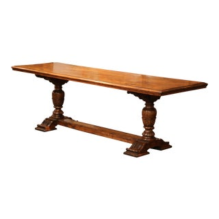 19th Century French Louis XIII Carved Walnut Farm Table From the Pyrenees