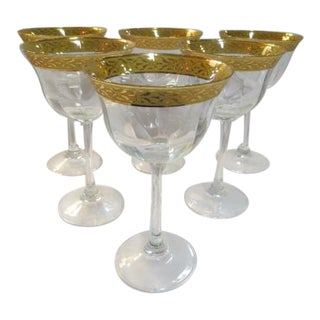 Vintage 1930s Gold Trim Champagne Glasses - Set of 6 For Sale