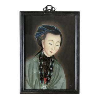 Antique Chinese Reverse-Painted Portrait of a Woman on Glass For Sale
