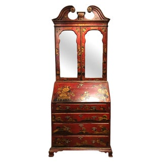 English George II Queen Anne Scarlett Japanned Desk For Sale