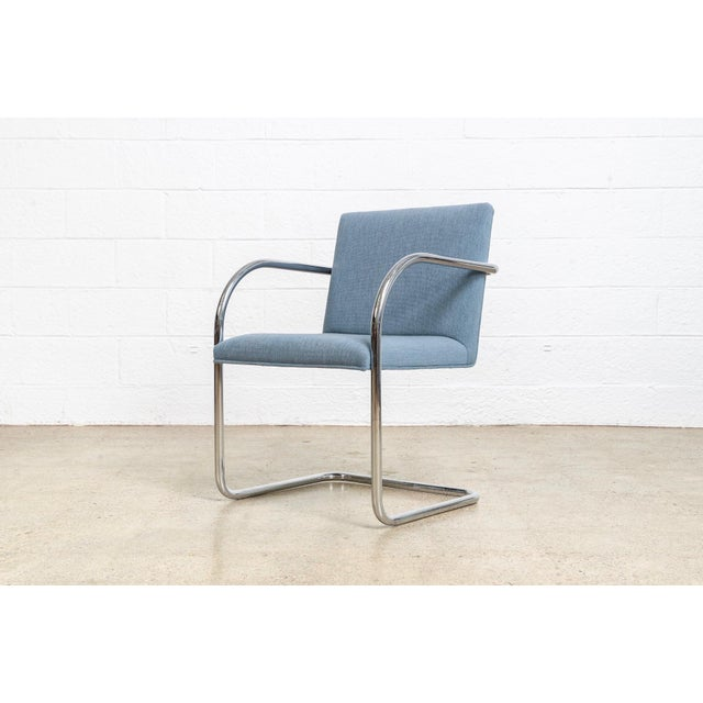 Chrome Mies Van Der Rohe Blue Brno Dining Chairs For Sale - Image 7 of 11