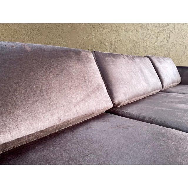 Selig Restored Selig Tuxedo Sofa in a Velvet Brown For Sale - Image 4 of 12