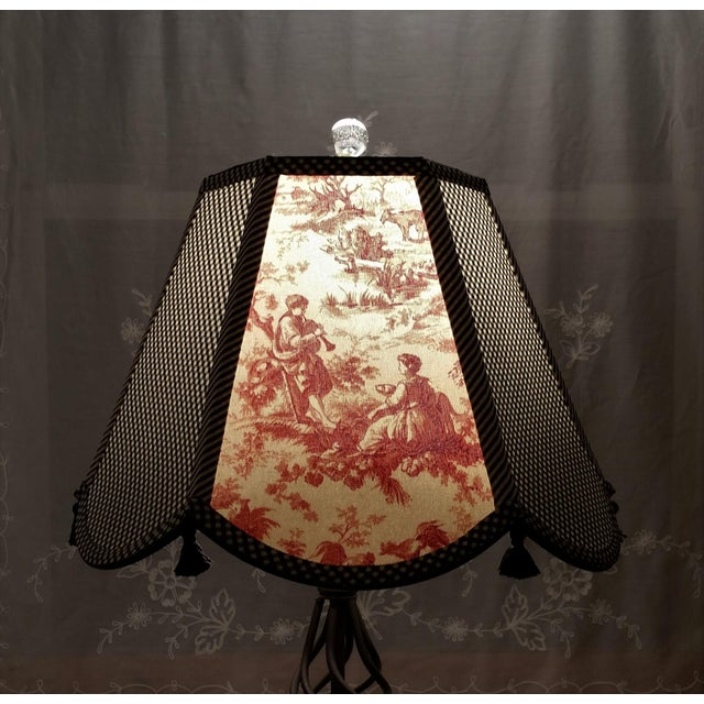 Red Toile Lampshade Black White Gingham For Sale - Image 9 of 11