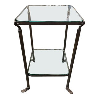 Bronze Hand and Foot Glass Top Gueridon Side Table For Sale