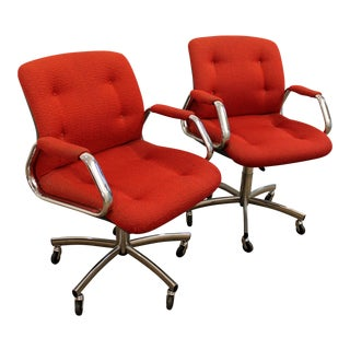 Mid-Century Danish Modern Red Chrome Steelcase Office Chairs on Wheels - a Pair For Sale