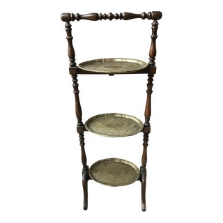 Three Tier Wood and Brass Edwardian Cake Stand For Sale