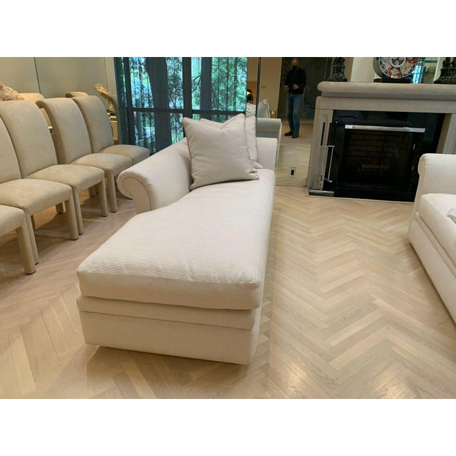 Custom Fainting Couch With Left Arm Rest and Textured Fabric For Sale - Image 9 of 12