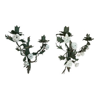 Antique French Bronze Candle Sconces With White Ceramic Flowers - a Pair For Sale