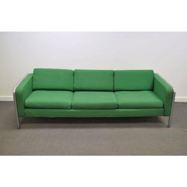 Mid Century Modern Milo Baughman Style Tubular Chrome Frame Green 3 Seat Sofa For Sale - Image 9 of 10