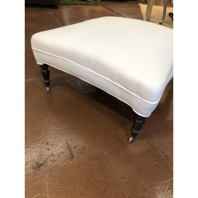 Wood 19th Century French White Upholstered Ottoman With Hand Carved Dark Wood Legs on Wheels For Sale - Image 7 of 9