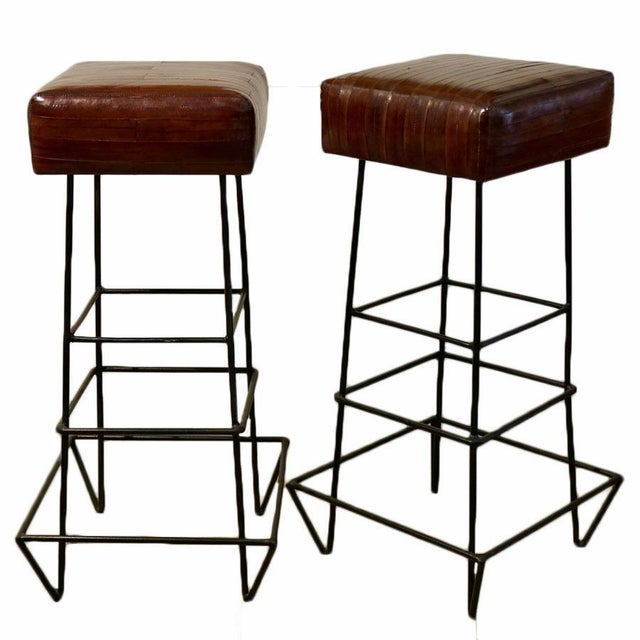 Red 1970s Frederick Weinberg Eel Skin Stools - a Pair For Sale - Image 8 of 8
