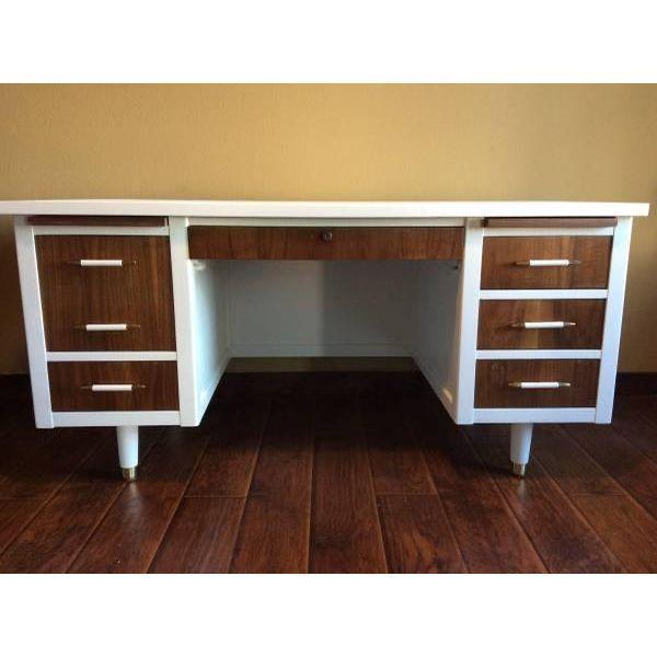 Bianca Mid Century Modern White & Walnut Desk - Image 2 of 4