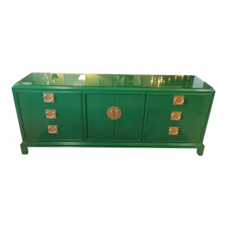 Chinoiserie High Gloss Green Credenza For Sale