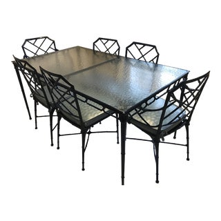 Hollywood Regency Brown Jordan Navy Blue Metal and and Glass Dining Set - 7 Pieces For Sale