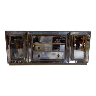 Custom Made Antiqued Italian Mirrored Credenza