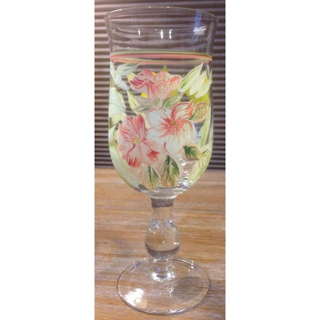 Impressionism Vintage Hand Painted Yellow and Pink Flowers Crystal Goblet Glasses - Set of 4 For Sale - Image 3 of 10