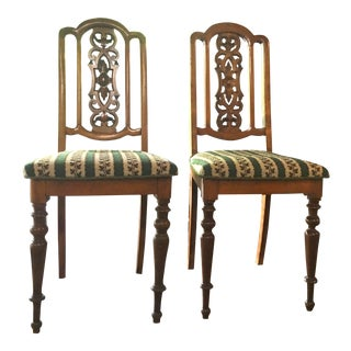 Needlepoint Seat Side Chairs - Pair For Sale
