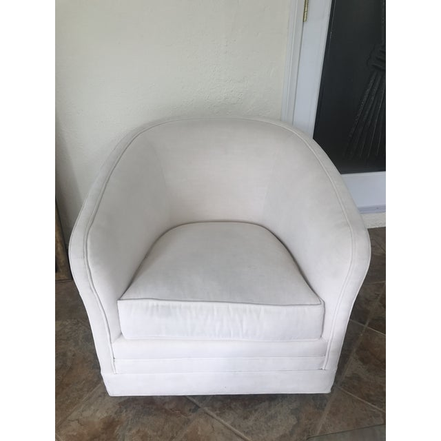 Textile Thomasville Sutton Barrel Back Swivel Chair For Sale - Image 7 of 7