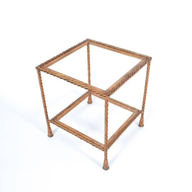 Pair of Golden Iron Rope Side Tables, Attributed Maison Jansen, France, 1950 For Sale - Image 4 of 7