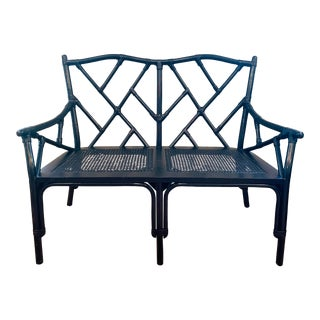 1960s Vintage Hollywood Regency Chinoiserie Bamboo Rattan Cane Open Fretwork Bench For Sale