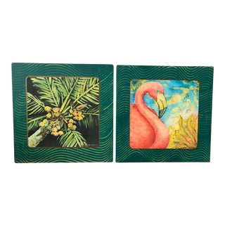 Coastal Colorful Flamingo and Palm Tree Art-A Pair For Sale