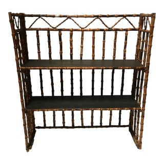 Henri Julian Tortoise Rattan Double Shelf For Sale