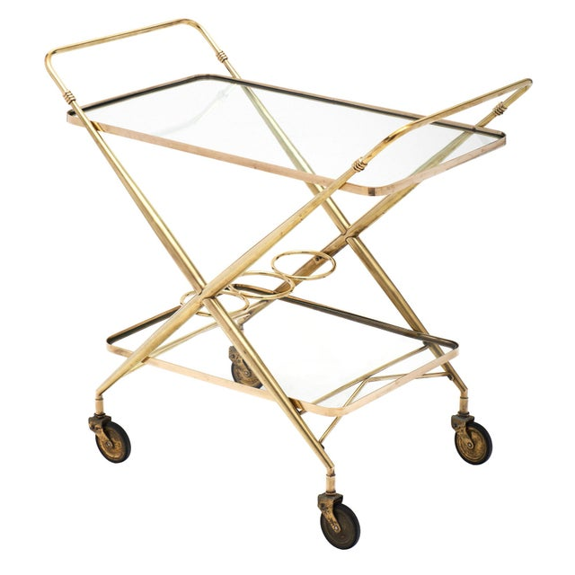 Vintage French Brass Bar Cart For Sale - Image 10 of 11