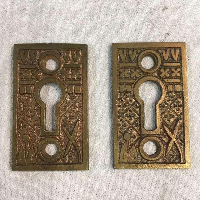 Metal Antique Late 19th Century Eastlake Victorian Yale & Towne Mortise Lock Box With Porcelain Door Knobs For Sale - Image 7 of 13
