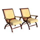 Image of Pair of Vintage Tommy Bahama Gold Leather Accent X Lounge Chairs For Sale