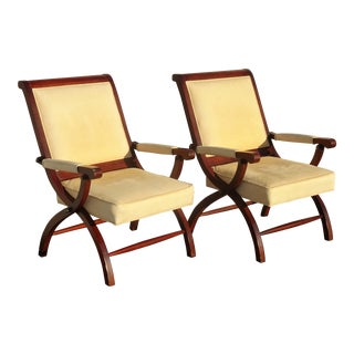 Pair of Vintage Tommy Bahama Gold Leather Accent X Lounge Chairs For Sale