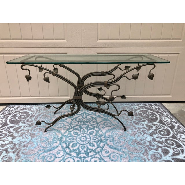 Arts and Crafts Glass Top Iron Console Table For Sale - Image 9 of 9