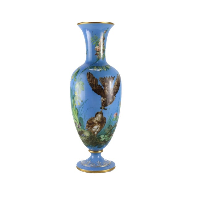 French Opaline Glass Vase Hand Painted Blue With Sparrows, Circa 1900 - Image 1 of 5