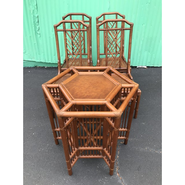 Vintage Brown Jordan Rattan Brighton Pavilion Style Table Four Chairs For Sale - Image 11 of 13