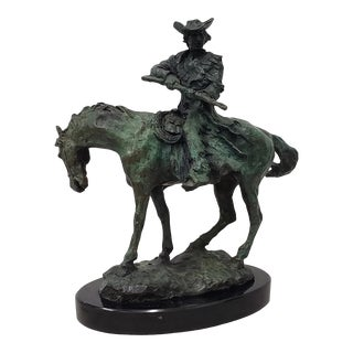 Vintage Horse and Rider With a Gun Bronze Sculpture by Silka For Sale