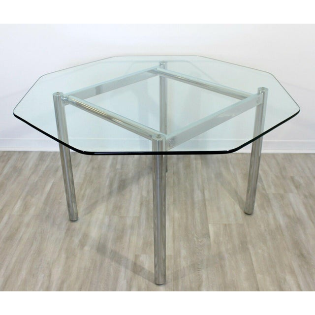 Mid Century Modern Chrome Dinette Set 4 Side Chairs Octagon Glass Top Table 70s For Sale In Detroit - Image 6 of 12