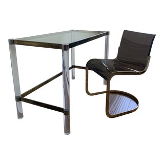 Mid-Century Modern Charles Hollis Jones Glass & Lucite Desk + Smoke Lucite Curvilinear Chair - 2 Pieces For Sale